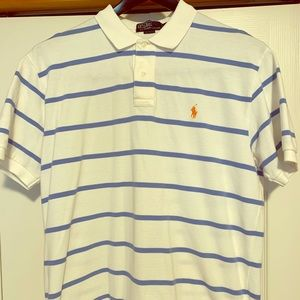 Polo by Ralph Lauren white polo with blue stripes